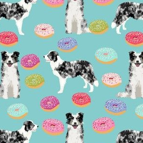 border collie fabric // dog fabric, dogs fabric, pet dog, donuts, donut fabric, cute fabric, pastel donut fabric - light blue
