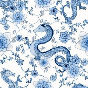 Chinoiserie Cerulean blue dragons // small