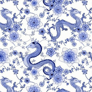 Chinoiserie Cobalt blue dragons // small