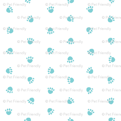 paw print fabric, dog fabric, cute pet fabric, pet paws, dog design  - light teal