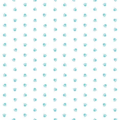 paw print fabric, dog fabric, cute pet fabric, pet paws, dog design  - light teal fabric by petfriendly on Spoonflower - custom fabric