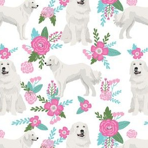 great pyrenees dog fabric, floral dog fabric, dog fabric, pet fabric, cute floral fabric, dogs, great pyrenees dog, dog design, cute dog - white