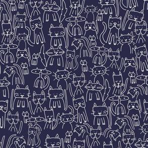 Doodle Cats Blue Ink