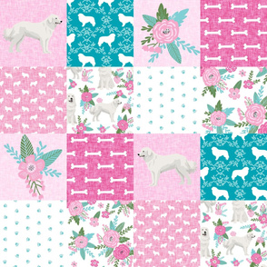 great pyrenees cheater quilt - pet quilt f, cheater quilt, wholecloth, dog quilt, pet quilt, great pyrenees dog fabric, - pink and teal