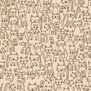 Doodle Cats Beige