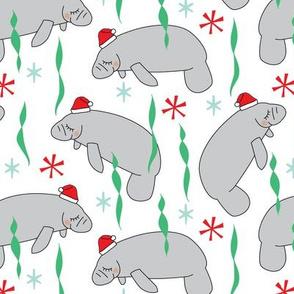 manatees-with-santa-hats on white