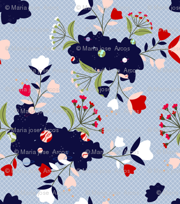 Mix pattern Floral/Space