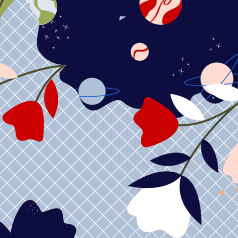 Mix pattern Floral/Space  fabric by arcos_by_design on Spoonflower - custom fabric