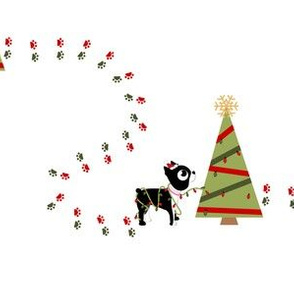 Boston terrier Christmas tree and Puppy