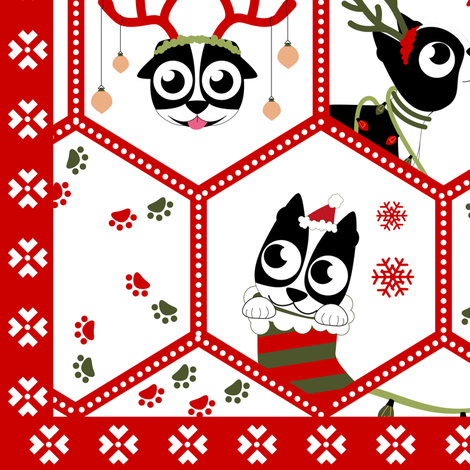 Boston Terrier Christmas puppy / dog  fabric by arcosbydesign on Spoonflower - custom fabric
