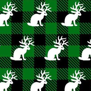 Jackalope Green Buffalo Plaid