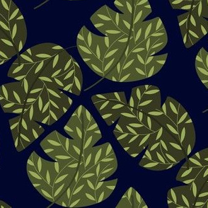 Green leaves , navy b/g