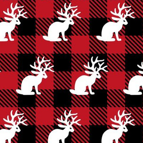 Jackalope Red Buffalo Plaid
