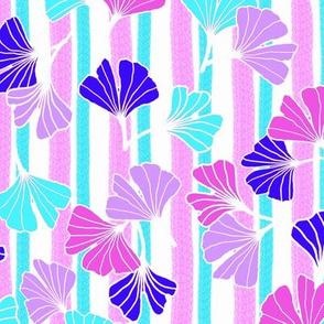 Bright Blue Aqua Pink Ginkgos on Pink Aqua