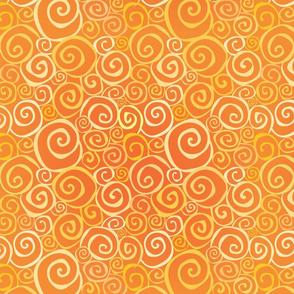 Desert Sun Swirls Orange on Yellow