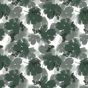 Hops Leaves and Flowers Botanical Print in Green, Gray and White