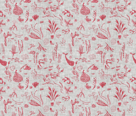 Happy Sea (coral) MED fabric by nouveau_bohemian on Spoonflower - custom fabric