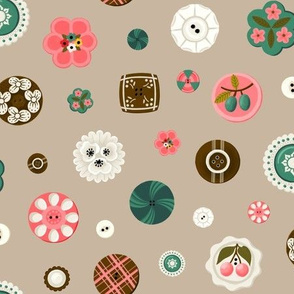 Vintage Button Collection in Pink and Green