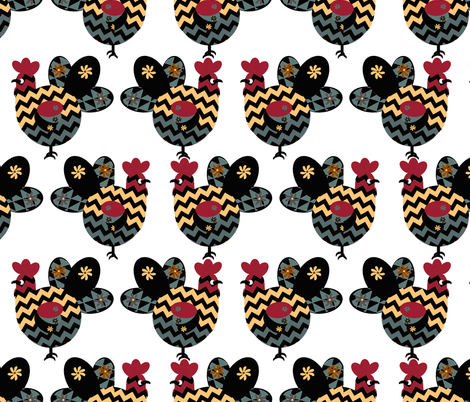 Scandinavian Chicken Design Inspired by Hawaiian  Rooster fabric by kedoki on Spoonflower - custom fabric