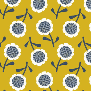 Retro Scandi Sunflower in yellow and blue