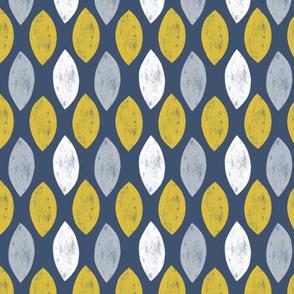 Geometric Leaf in Blue, Mustard and Grey