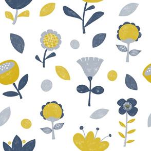 Retro Scandi Floral in Yellow, Blue and Grey