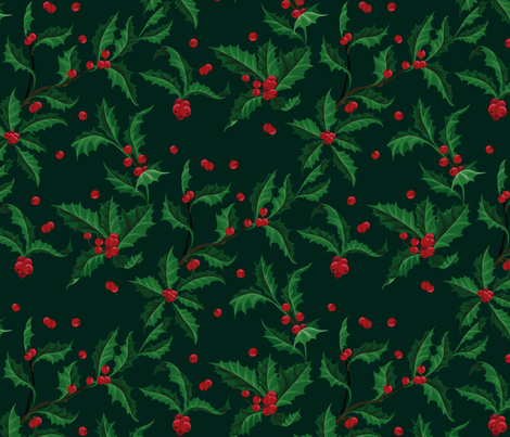 Holly Pattern Christmass plant fabric by liliya_sudakova on Spoonflower - custom fabric