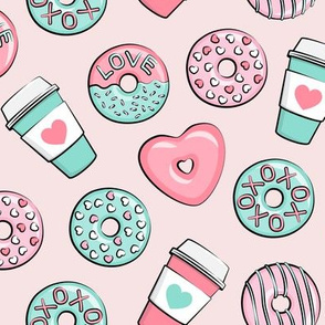 donuts and coffee - valentines day - pink and teal on light pink