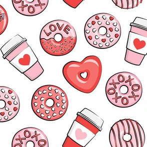 donuts and coffee - valentines day -  red and pink on white