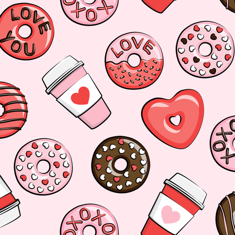 donuts and coffee - valentines day - red, pink, & chocolate on pink fabric by littlearrowdesign on Spoonflower - custom fabric