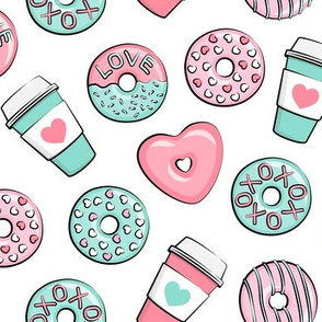 donuts and coffee - valentines day - pink & teal