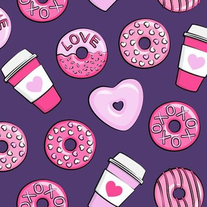 donuts and coffee - valentines day - pink on dark purple