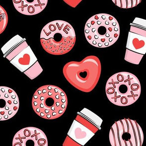 donuts and coffee - valentines day - red and pink on black