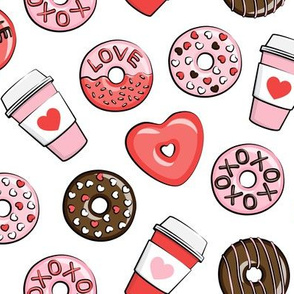 donuts and coffee - valentines day - red, pink, & chocolate on white