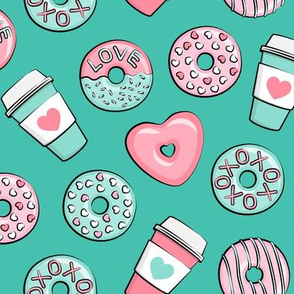 donuts and coffee - valentines day - pink and teal on dark teal