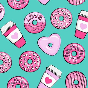 donuts and coffee - valentines day - pink on teal