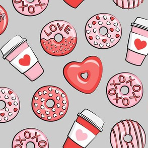 donuts and coffee - valentines day - red and pink on grey