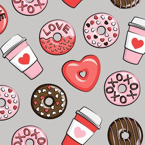 donuts and coffee - valentines day - red, pink, & chocolate on grey