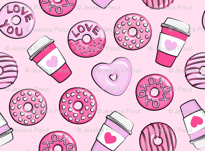 donuts and coffee - valentines day - pink on pink