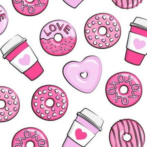 donuts and coffee - valentines day - pink on white