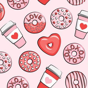 donuts and coffee - valentines day - red and pink on pink