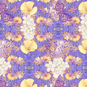 Pale Yellow Poppies and Butterflies on Lavender