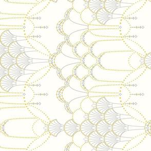 Deco Lace ivory tea towel