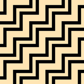 Big Small Size Peach Fruit Black Color Stairs Chevron Zig Zag Pattern