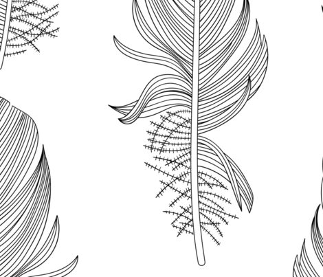 Black and White Feathers Extra Large fabric by marketa_stengl on Spoonflower - custom fabric