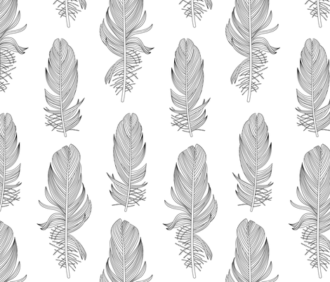 Black and White Feathers Large fabric by marketa_stengl on Spoonflower - custom fabric