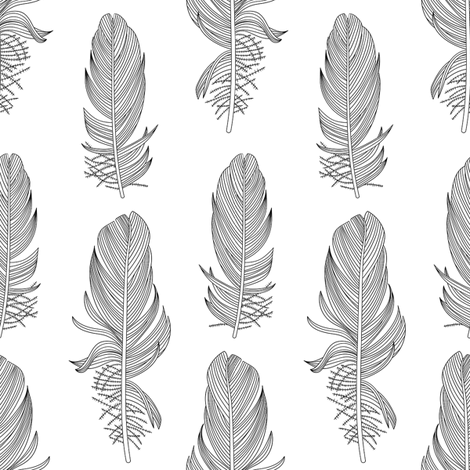Black and White Feathers fabric by marketa_stengl on Spoonflower - custom fabric