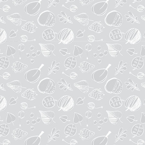 white fruits on grey background pattern