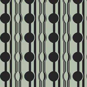 geo six dot stripe-charcoal on celadon