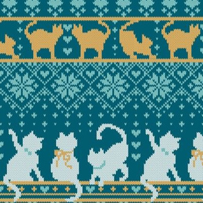 Fair Isle Knitting Cats Love // small scale // teal background dark teal white and yellow kitties and details